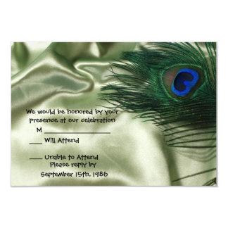 Vida verde RSVP del travesaño del pavo real de Invitación 8,9 X 12,7 Cm