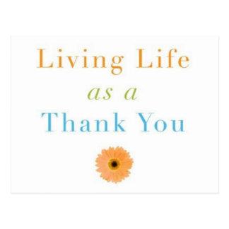 Vida viva como agradecimiento usted tarjetas de postal