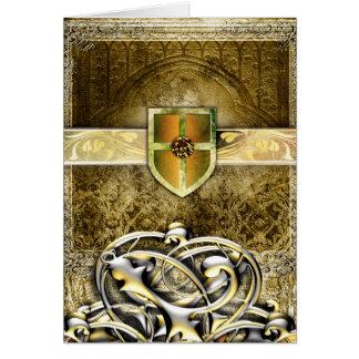 Vides antiguas medievales del metal del saber del tarjeta de felicitación