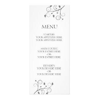 Vides elegantes que casan el menú tarjeta publicitaria a todo color