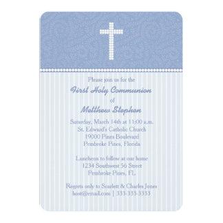 Vides y rayas azules de la comunión invitación 12,7 x 17,8 cm