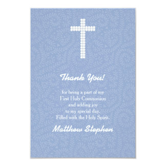 Vides y rayas azules de la comunión invitación 8,9 x 12,7 cm