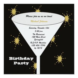 Vidrio adulto de la fiesta de cumpleaños con los invitación 13,3 cm x 13,3cm