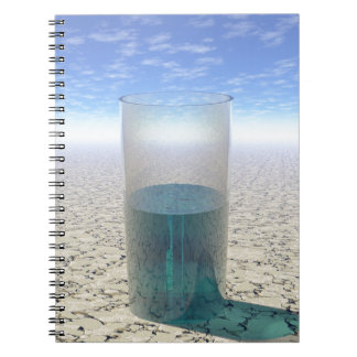Vidrio de agua cuaderno