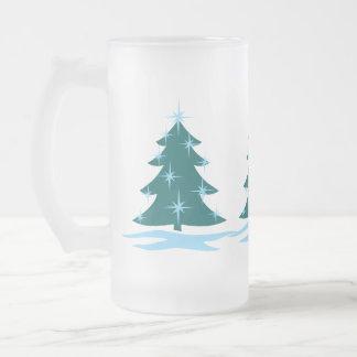 Vidrio de cerveza festivo de ChristmasTree de la Taza Cristal Mate