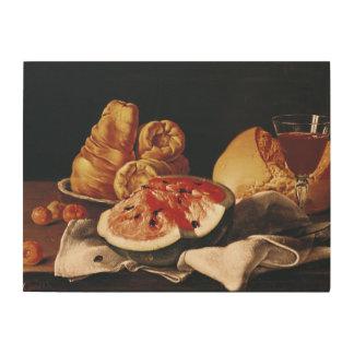 Vidrio de vino, de sandía y de pan impresión en madera