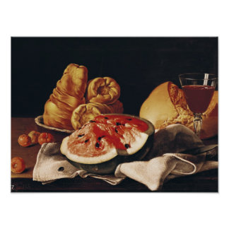 Vidrio de vino, de sandía y de pan poster