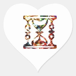 Vidrio decorativo de la hora - diseño rojo pegatina en forma de corazón