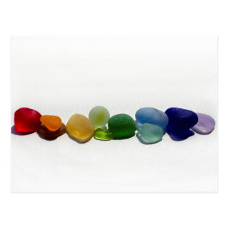 Vidrio del mar, postal de cristal del arco iris de