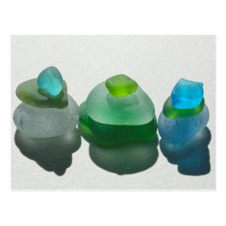 Vidrio del mar, vidrio de la playa, azul, verde, postal