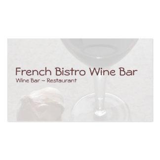 Vidrio del restaurante del bar de vinos tarjetas de visita