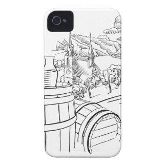 Vidrio of Wine on de barril en frente of german Funda Para iPhone 4 De Case-Mate
