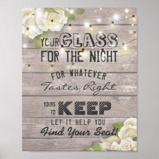 Vidrio que asienta del boda para el hallazgo de la póster