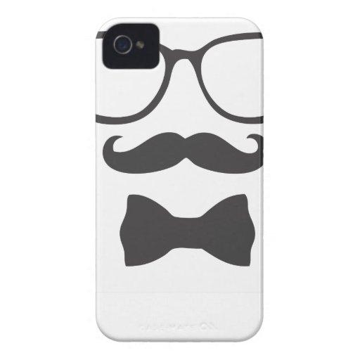 Vidrios de Bowtie del inconformista del bigote Case-Mate iPhone 4 Carcasa