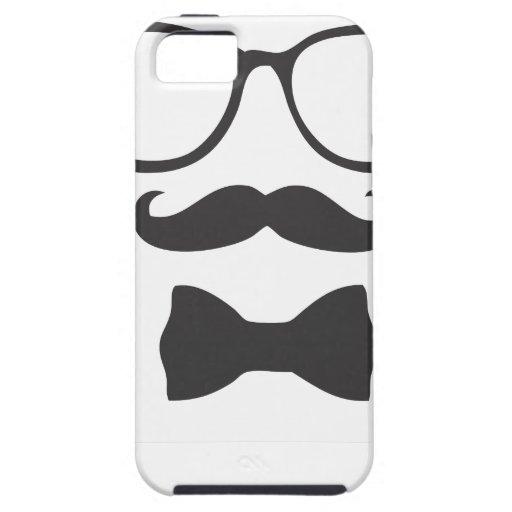 Vidrios de Bowtie del inconformista del bigote iPhone 5 Case-Mate Coberturas