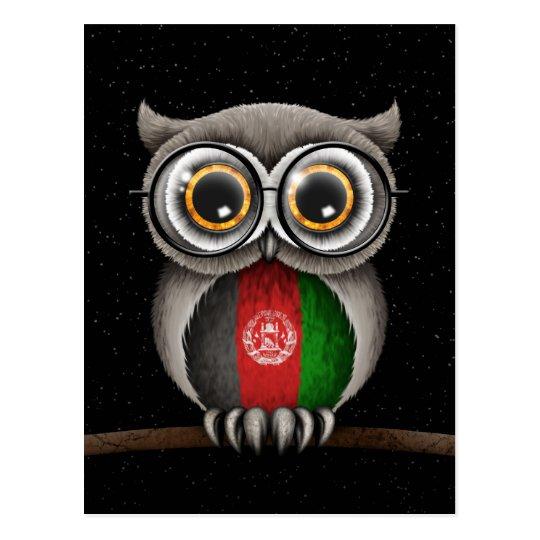 Vidrios que llevan del búho afgano lindo de la postal