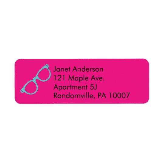 Vidrios retros azules rosados y brillantes etiqueta de remitente
