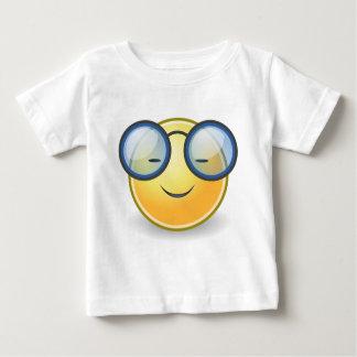 Vidrios sonrientes anaranjados elegantes camiseta de bebé