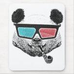 Vidrios tridimensionales de la panda del vintage alfombrilla de ratón