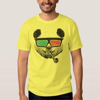 Vidrios tridimensionales de la panda del vintage camisas