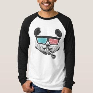 Vidrios tridimensionales de la panda del vintage camiseta