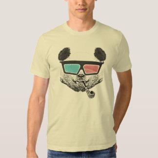 Vidrios tridimensionales de la panda del vintage camisetas