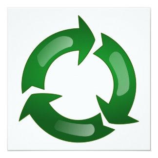 Vidriosos verdes reciclan símbolo invitación 13,3 cm x 13,3cm