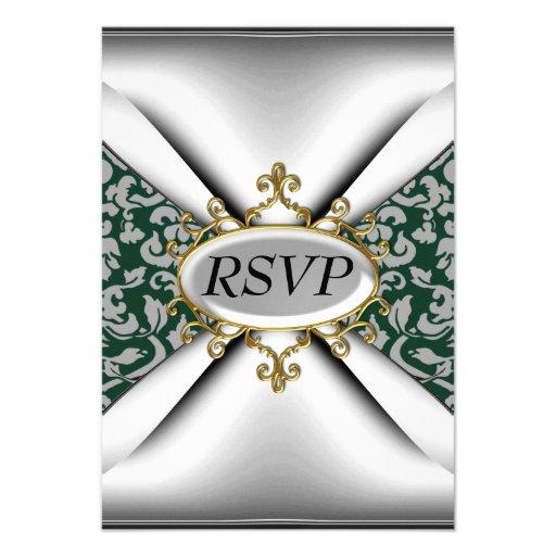 Vieja celebración verde RSVP de la fiesta de cumpl Comunicados Personalizados