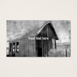 Vieja construcción de la cabaña, demolición, tarjeta de visita