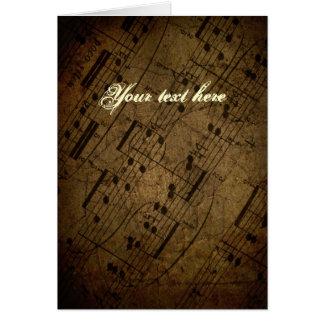 Vieja partitura musical de la hoja, notas de la mú tarjeta de felicitación