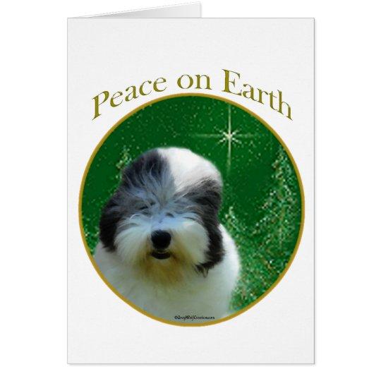 Vieja paz inglesa del perro pastor tarjeta de felicitación