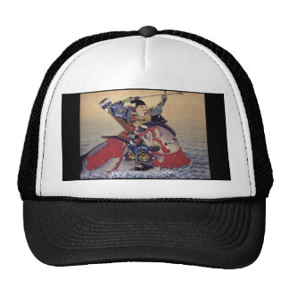 Vieja pintura japonesa de un samurai gorra
