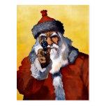 Vieja Santa con tarjeta postal de Navidades de arm