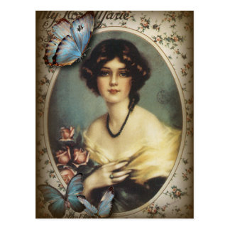 Vieja señora de París de la moda de la mariposa Postal