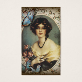 Vieja señora de París de la moda de la mariposa Tarjeta De Visita