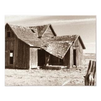 Vieja sepia de la granja de la invitación en invitación 10,8 x 13,9 cm