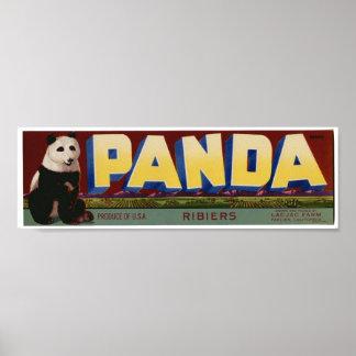 Viejas etiquetas del cajón de la fruta de la panda posters