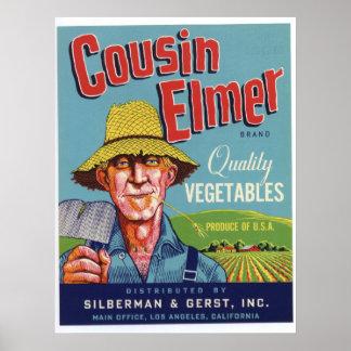 Viejas etiquetas del cajón de las verduras de Elme Posters