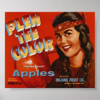 Viejas etiquetas indias del cajón de la fruta de A Poster