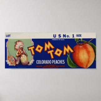 Viejas etiquetas indias del cajón de la fruta de l poster