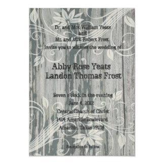 Viejas invitaciones florales de madera del boda invitación 12,7 x 17,8 cm
