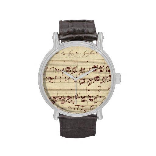 Viejas notas de la música - hoja de música de Bach Relojes