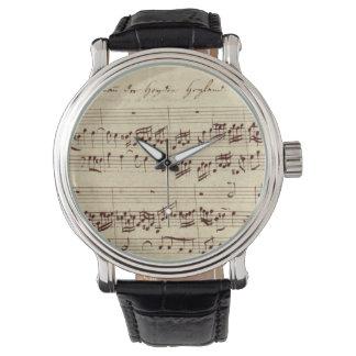 Viejas notas de la música - hoja de música de Bach Relojes De Mano