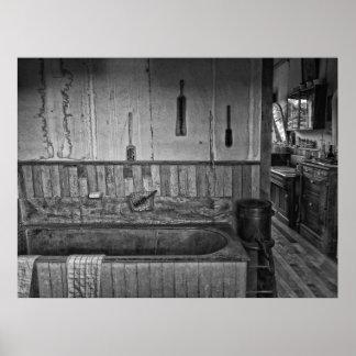 Viejo baño del oeste de la peluquería de póster