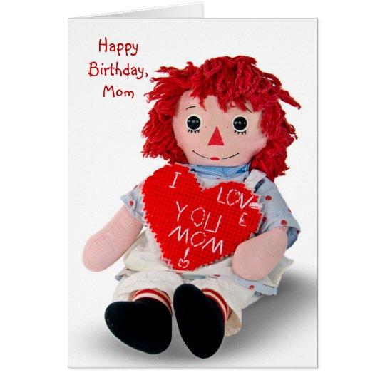 Viejo cumpleaños de la muñeca de trapo tarjeta de felicitación