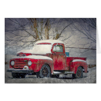 Viejo espacio en blanco rojo Notecard del camión Tarjeta