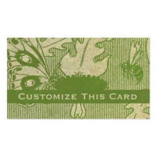 Viejo mariposa y abeja manchadas verde de papel tarjetas de visita