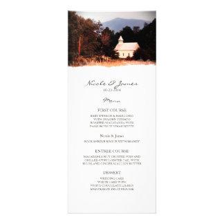 Viejo menú del boda de la iglesia de la montaña comunicados personalizados