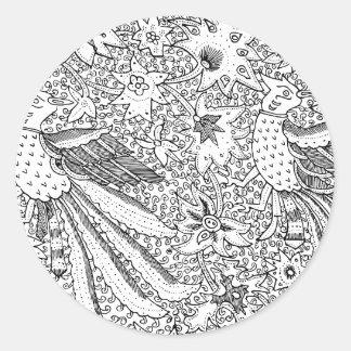 Viejo modelo abstracto de la naturaleza de la pegatina redonda