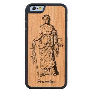 """Viejo Mundo """"señora Justice"""" retra o dibujo del Funda Protectora De Cerezo Para iPhone 6 De Carved"""